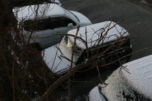20160120朝、車積雪