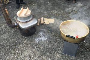 鴨部上防災の日、炊き出し