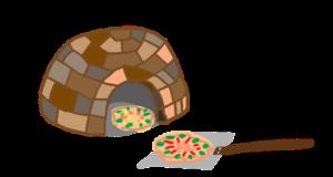 イラスト、ピザ窯
