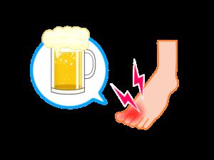 イラスト、痛風ビール